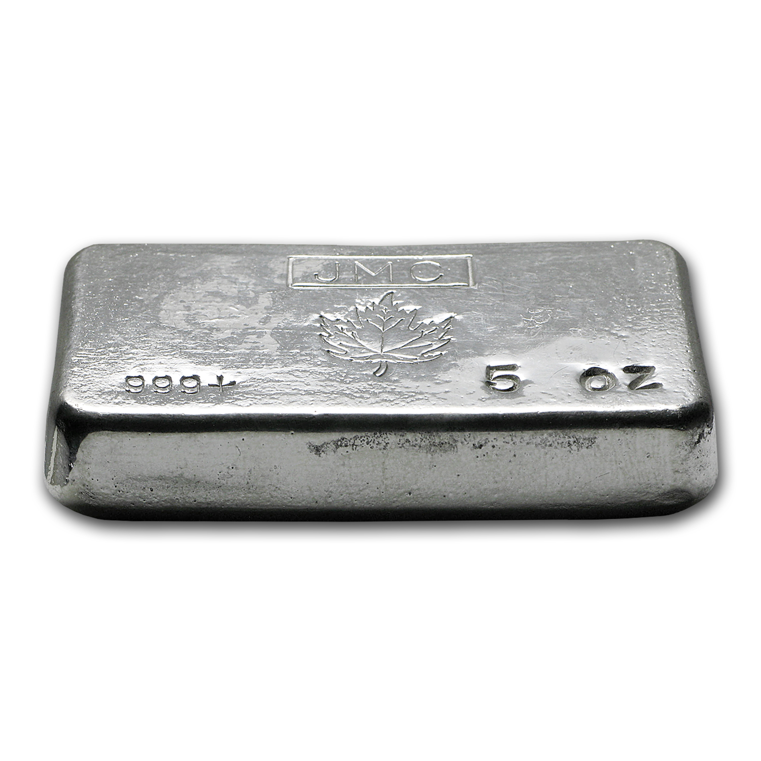 5 oz Silver Bar - Johnson Matthey (Poured/Maple Leaf)